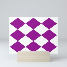 Diamonds, purple and white Mini Art Print