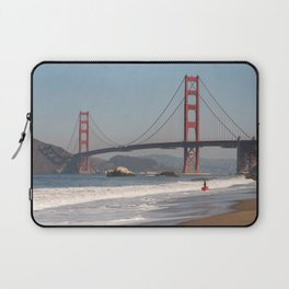 Boogie Boarding at Baker Beach, San Francisco Photography, Travel California, Golden Gate Bridge Art Laptop Sleeve