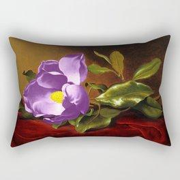 A Purple Magnolia on Red Velvet by Martin Johnson Head Rectangular Pillow