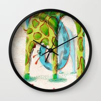 giraffes Wall Clocks featuring Giraffes by Orenso