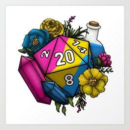 Pride Pansexual D20 Tabletop RPG Gaming Dice Art Print