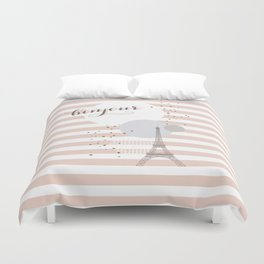 Bonjour (pink) Duvet Cover