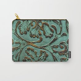Aqua Flowers Tooled Leather Carry-All Pouch