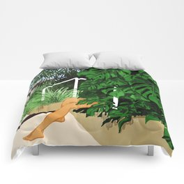 Hiding in Green #painting #illustration Comforters