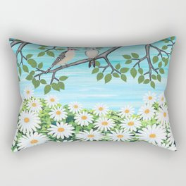 red bellied woodpeckers and daisies Rectangular Pillow