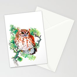 Your Best Friend Owl, woodland Owl art,, children illustration of OWL Stationery Cards
