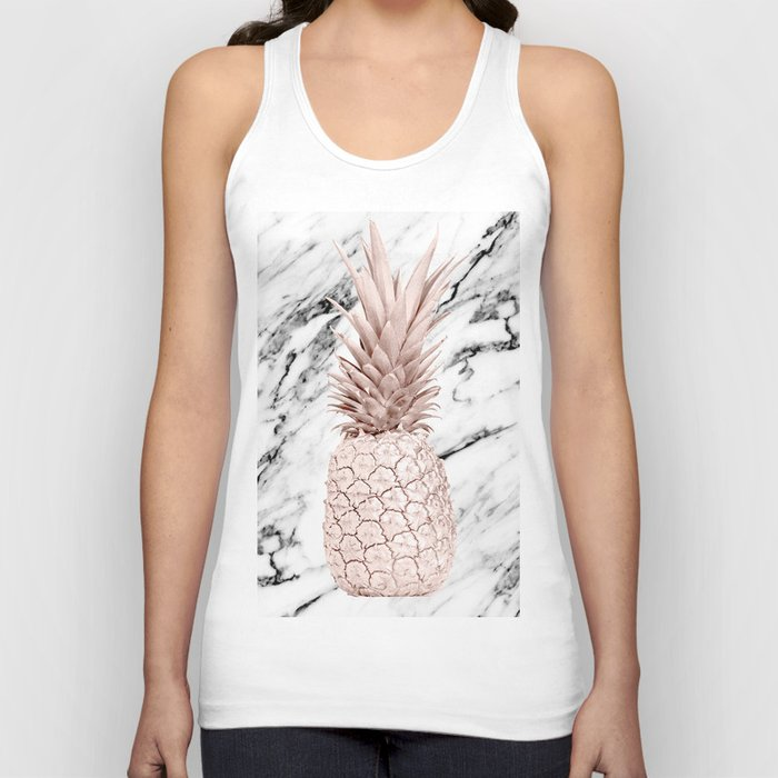 Pineapple Rose Gold Marble Unisex Tank Top