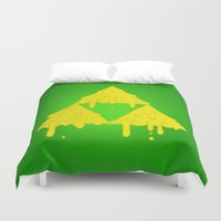 triforce Duvet Covers featuring Melting Triforce by Nate Galbraith