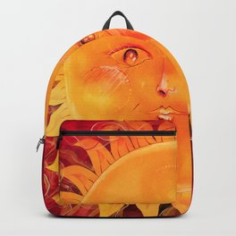 Digital painting of a chubby sun with a funny face Backpack