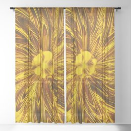 Abstract Lines Yellow  Flower Sheer Curtain