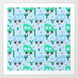 Camper Vans in Blue and Mint with Green Cactus and Pink Flowers Art Print