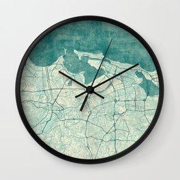 San Juan Map Blue Vintage Wall Clock