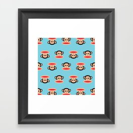 Julius Monkey Pattern by Paul Frank - Blue Framed Art Print