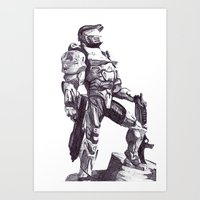 master chief Art Prints featuring Master Chief 117 by DeMoose_Art