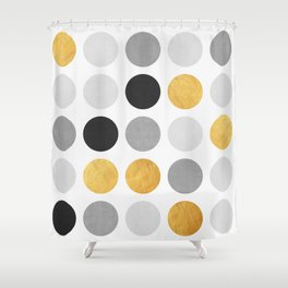 Gray and gold circles Shower Curtain