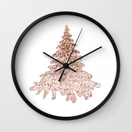Sparkling christmas tree rose gold ombre Wall Clock
