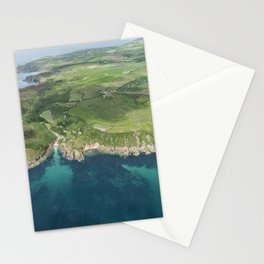 Aerial views over Porthgwarra Beach towards Lands End Cornwall. Stationery Cards