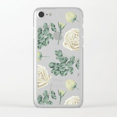 Flower Shop Ivory Cream Roses Pattern Clear iPhone Case