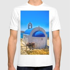 Mykonos, Greece White SMALL Mens Fitted Tee