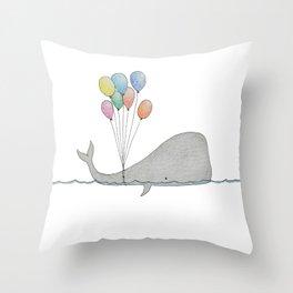 Whale whit balloons Throw Pillow