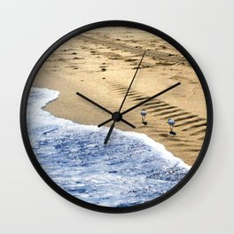two sandpipers in blue & gold Wall Clock