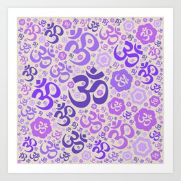 OM symbol pattern - purples on canvas Art Print