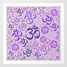 OM symbol pattern - purples on canvas Art Print