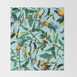 Fruit and Birds Pattern Throw Blanket
