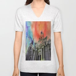 Water Color Cathedral Unisex V-Neck