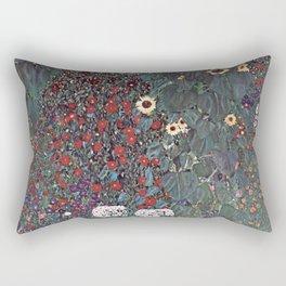 Country Garden with Sunflowers by Gustav Klimt 1905 - 1906 // Nature Scene Detailed Brush Strokes Rectangular Pillow