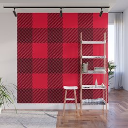 DigiPlaid Red Wall Mural