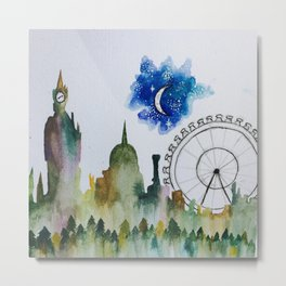 Cityscape into Forest Metal Print