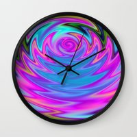 60s Wall Clocks featuring Psychedelic 60s by Alice Gosling
