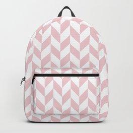 Pink and White Herringbone Pattern Backpack