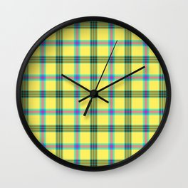 lemon love plaid with a dash of pink and blue Wall Clock