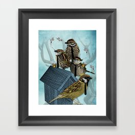 Smoking Birds Print Framed Art Print