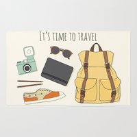 backpack Area & Throw Rugs featuring It's Time to Travel by Helga Wigandt