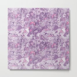 Purple Pink and Mint Marbling Metal Print