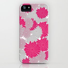 Spring Floral - hot pink and grey iPhone Case