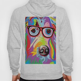 Smart Retriever Hipster with Glasses Hoody