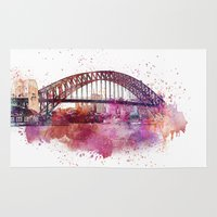 sydney Area & Throw Rugs featuring Sydney Harbor Bridge by LebensART