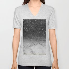 Stylish faux black glitter ombre white marble pattern Unisex V-Neck
