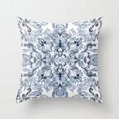 Indigo, Navy Blue and White Calligraphy Doodle Pattern Throw Pillow