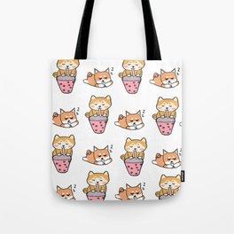 Shiba pattern with bubble tea Tote Bag