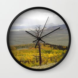 The past still stands tall in forest of  fall Wall Clock