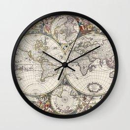 Vlakke aard-kloot met het beide hemelsch half-rond of de onder scheidene verbeelding van de land-wat Wall Clock
