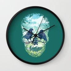 Nature's Skull (Green) Wall Clock