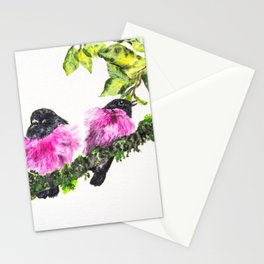 Pink Robin Birds Perched on Mossy Branch with Leaves Stationery Cards