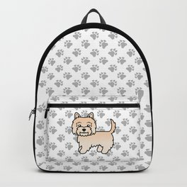 Cute Cream Cairn Terrier Dog Cartoon Illustration Backpack