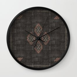 Kilim in Black and Pink Wall Clock